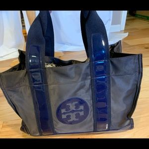 Tory Burch brown and blue nylon and patent tote
